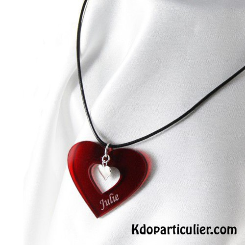 collier coeur plexi et argent