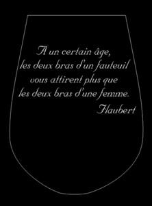exemple de verre à vin gravé d'une citation de Flaubert