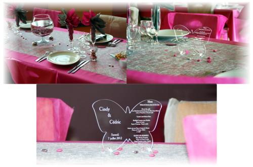 décoration de salle thème papillon avec menu mariage en forme de papillon gravé