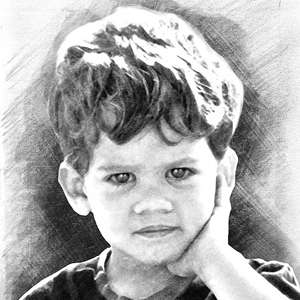 portrait enfant au fusain