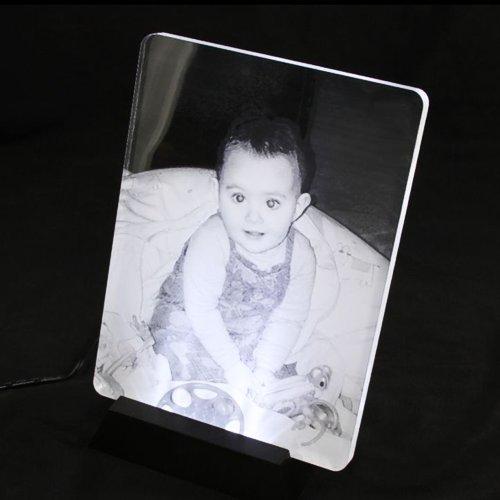 plaque photo gravée avec socle lumineux