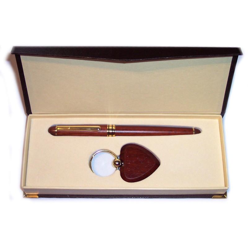 Coffret stylo porte clé coeur