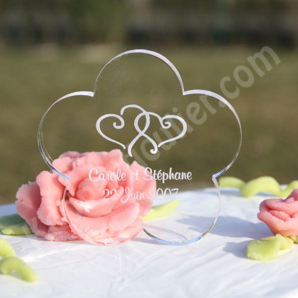 Sujet de pièce montée pour gateau de mariage en forme de fleur