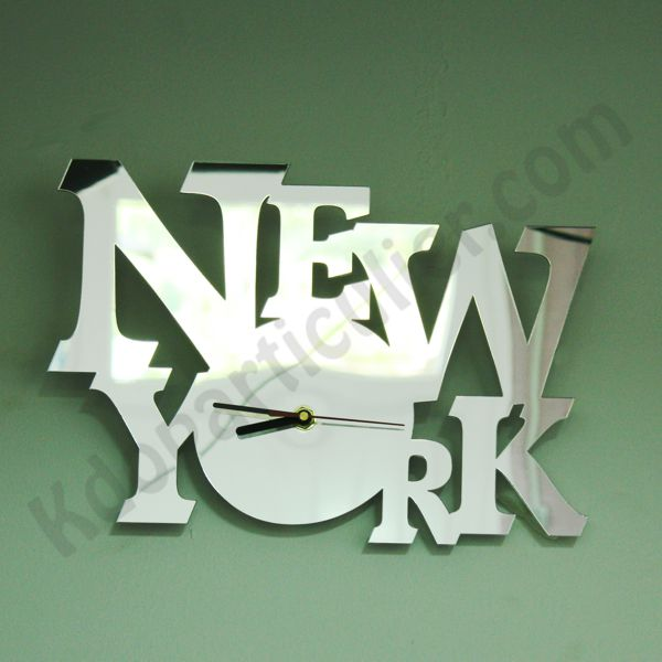 D coration murale horloge miroir new york paris ou london for Decoration murale geante new york