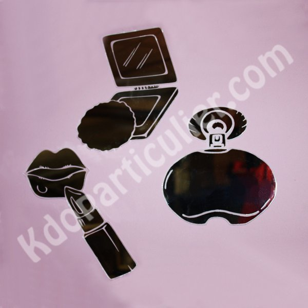 stickers miroir make up rouge l vres poudre et parfum d coration miroir f minine. Black Bedroom Furniture Sets. Home Design Ideas