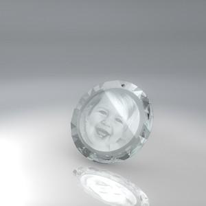 pendentif rond en verre gravé