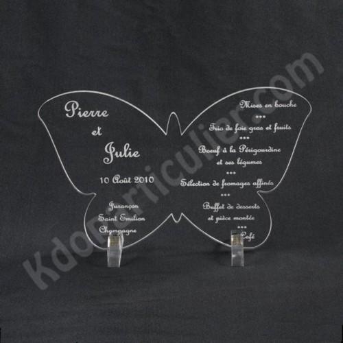 menu mariage en forme de papillon