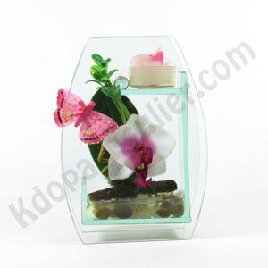 id e cadeau fleurie petite bougie d coration avec fleurs artificielles. Black Bedroom Furniture Sets. Home Design Ideas