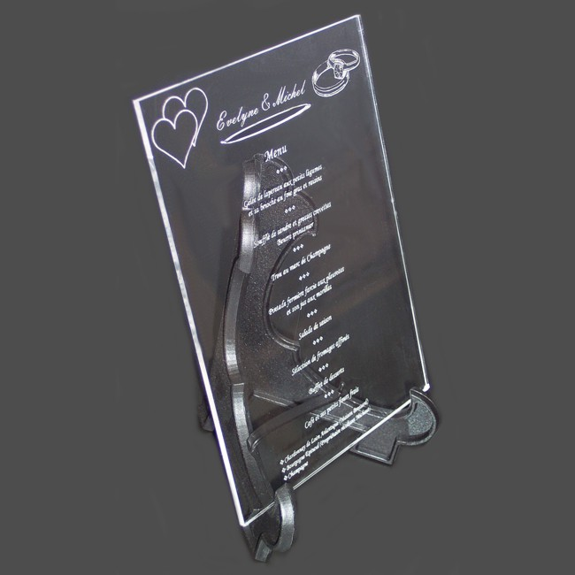 menu de table mariage et grav sur plexi menu grav 15x20. Black Bedroom Furniture Sets. Home Design Ideas