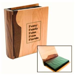 livre album photos en bois à personnaliser