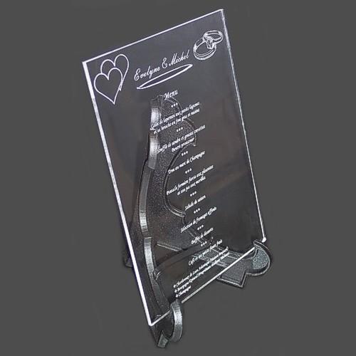 image de menu de mariage en plexi